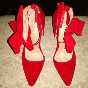MMJuly Red stilettos with bow on the ankle